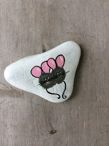 Painted Rock - Two Mice - by Connie Thompson