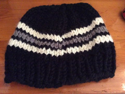 Hand Knit Black Hat with Grey and White Stripes by Valerie Knits- 2020- Consignment