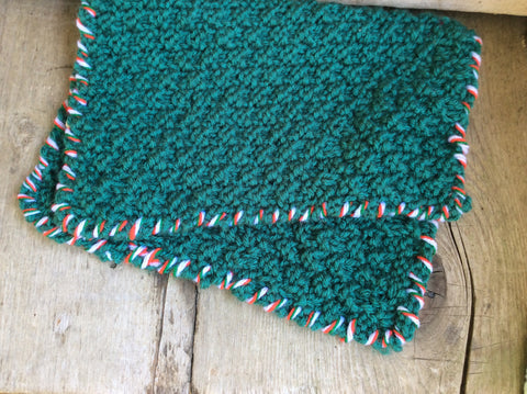 Green Washcloth With Red and White Border