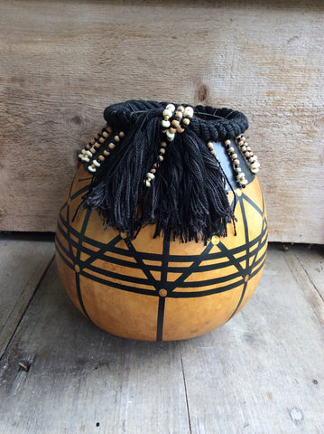 Graphic Gourd with Black Cord and Beads - Split Birch Studio