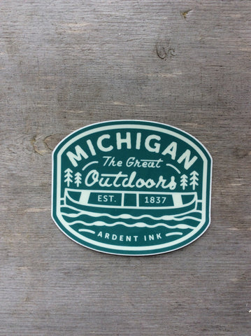 Sage Green Michigan Great Outdoors Sticker Ardent Ink
