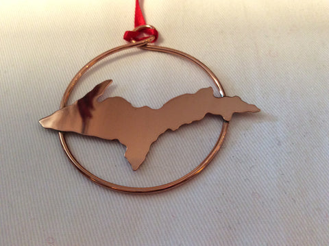 Keweenaw Copper Art Ornament - Circle with Only UP