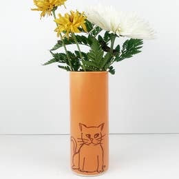 Cat Vase Large by Bella Joy Pottery