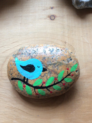Bird on Branch Painted Rock by Joyce Ayres