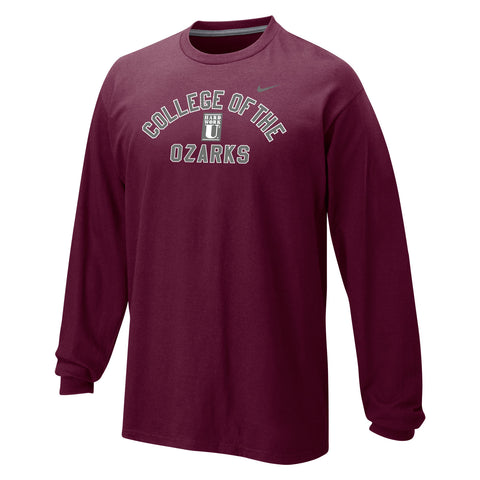 Nike® Classic Cotton Long Sleeve Tee- College of the Ozarks - Hard Work U