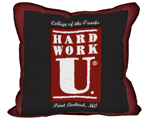 Vintage Tapestry Pillow- Hard Work U- Bobcat
