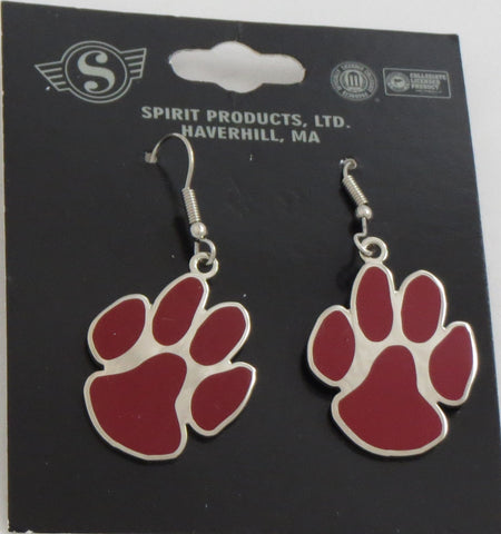 "Cloisonné Hook Earrings 1""- Paw Print"