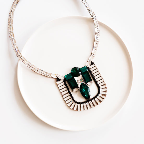 Cairo Necklace - Crystal, Jet & Emerald