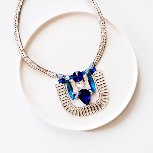 Cairo Necklace - Crystal & Sapphire