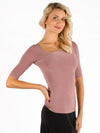 Miari women's dusty rose ballroom dance top with asymmetrical neckline and elbow length half-sleeves.