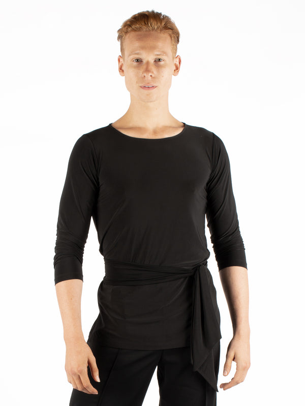 Miari black tunic men's ballroom dance shirt