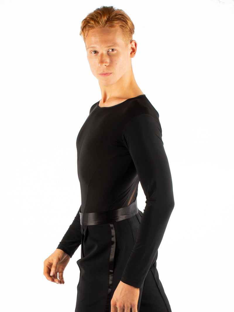 Long sleeved simplicity with an all mesh back. Super soft spandex, trunks attached with snap closure.