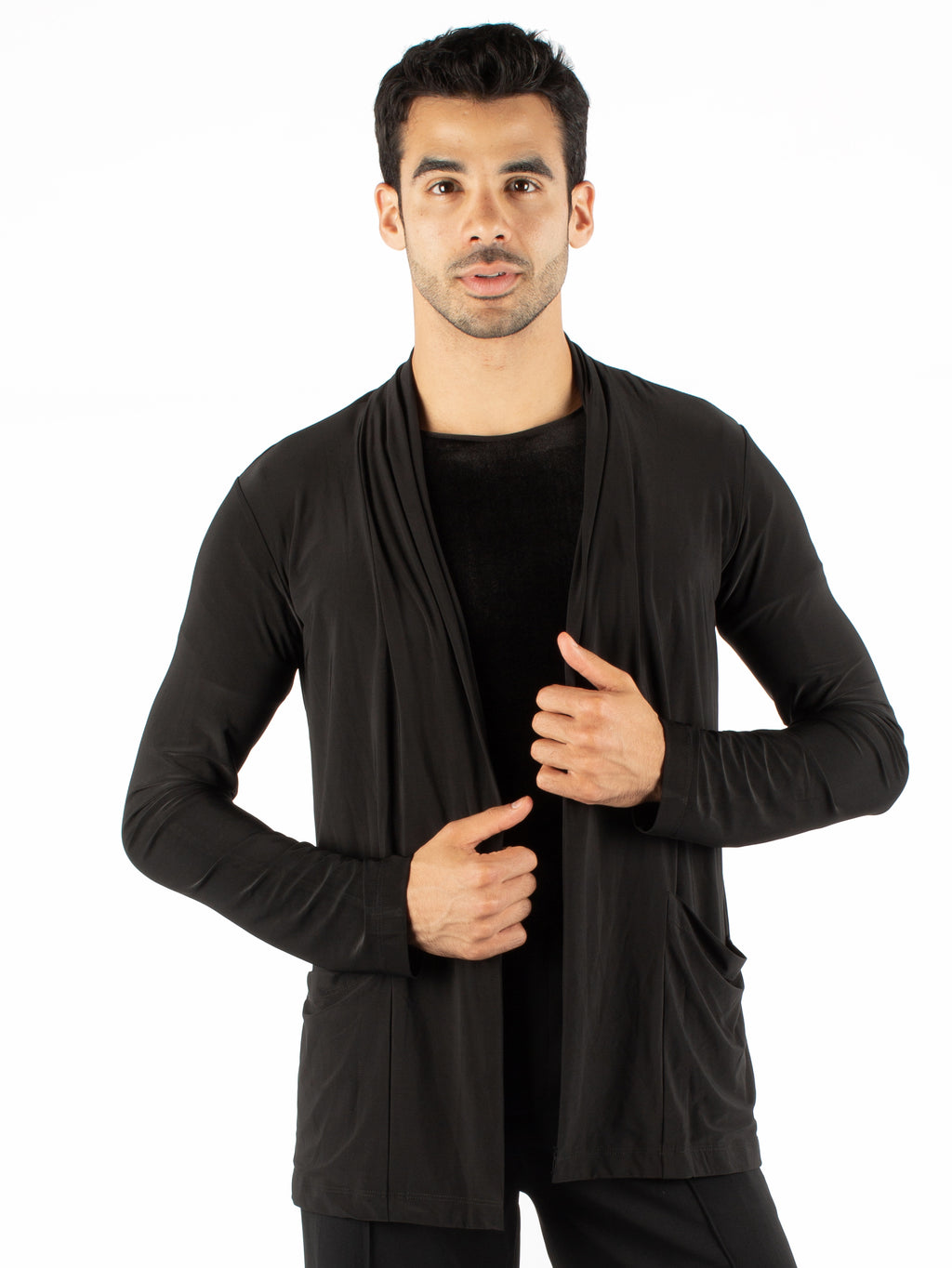 Miari men's black lightweight draped shawl collar. Open front without closure. Side pockets