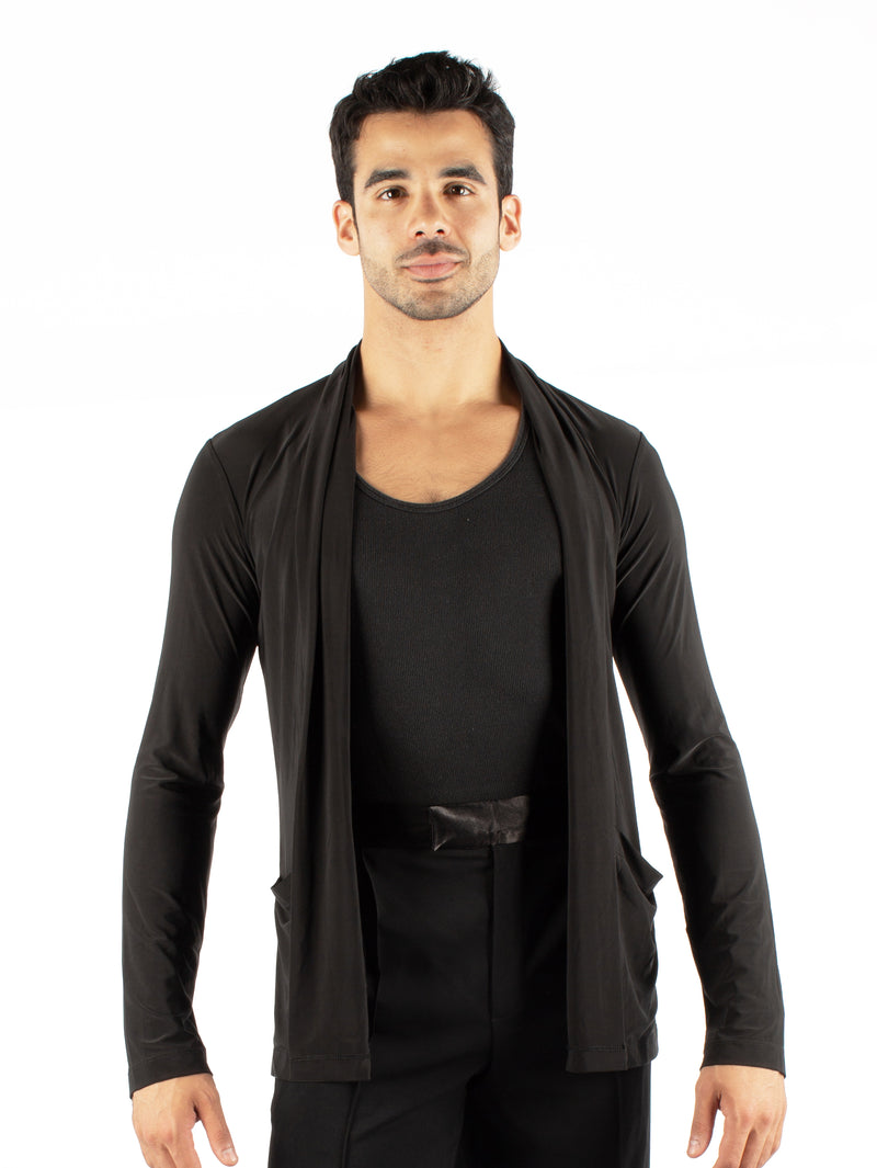 Miari men's black lightweight draped shawl collar. Open front without closure. Side pockets.