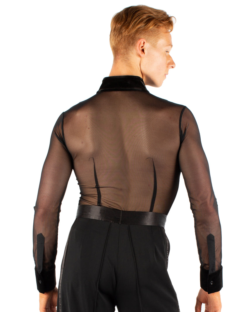Miari mens black Theodore ballroom shirt with mesh body and contrasting velvet trims. Button front closure. Super soft spandex, trunks attached.