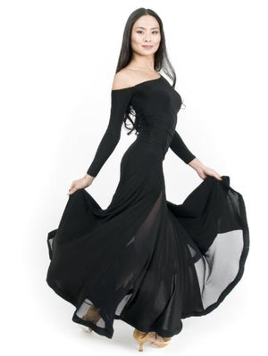 Miari Maxi ballroom dance dress for both Standard, Smooth, built-in shelf bra, off the shoulder sleeve made with comfortable and soft elastics. This full skirt contains 4 mesh panels.