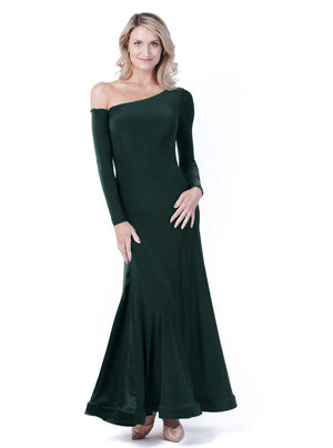 Miari forrest green maxi ballroom dance dress for both Standard, Smooth, built-in shelf bra, off the shoulder sleeve made with comfortable and soft elastics. This full skirt contains 4 satin panels.