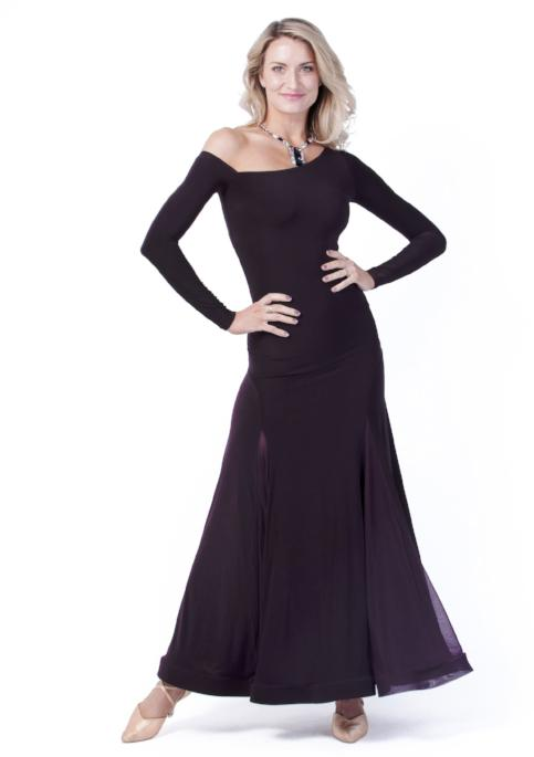 Miari womens plum maxi ballroom dance dress for both Standard, Smooth, built-in shelf bra, off the shoulder sleeve made with comfortable and soft elastics. This full skirt contains 4 satin panels.