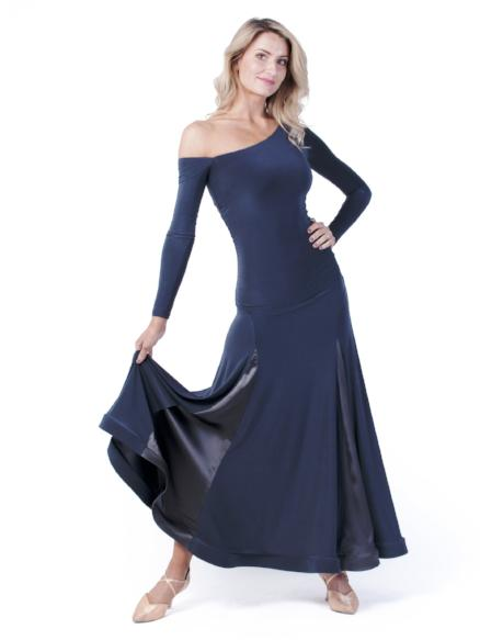 Miari womens steel color maxi ballroom dance dress for both Standard, Smooth, built-in shelf bra, off the shoulder sleeve made with comfortable and soft elastics. This full skirt contains 4 satin panels.