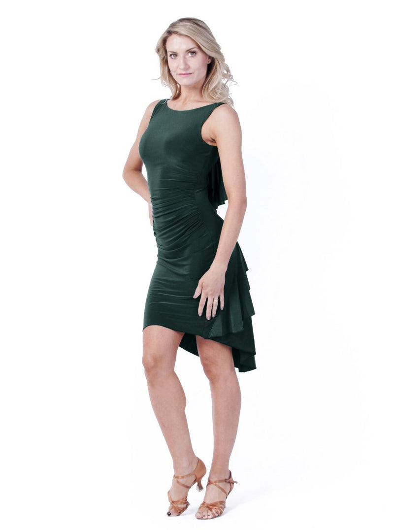 Juliette Ruffle Dress - Forrest Green