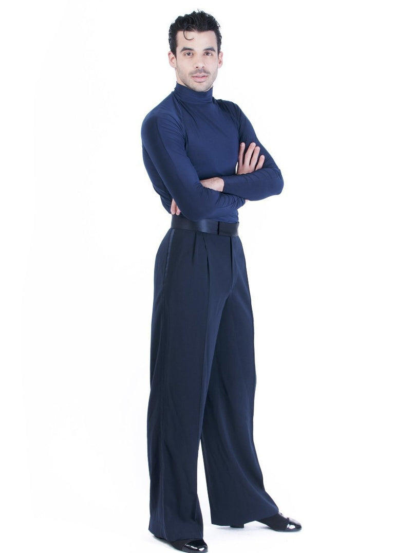 Miari mens Luca ballroom dance trousers in navy with satin waistband, pin tuck pleats, and pockets. Wide leg, satin trim down side seam. Durable crepe material no wrinkle machine washable.