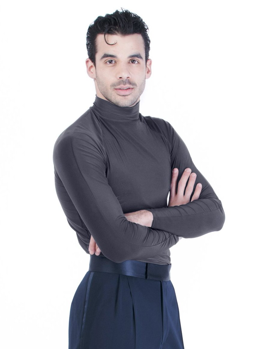 Miari men's classic black comfy turtleneck latin ballroom dance top.