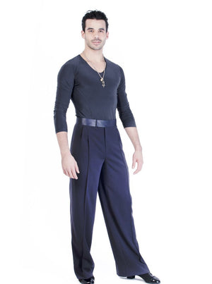 Miari mens steel Luca ballroom dance trousers  with satin waistband, pin tuck pleats, and pockets. Wide leg, satin trim down side seam. Durable crepe material no wrinkle machine washable.