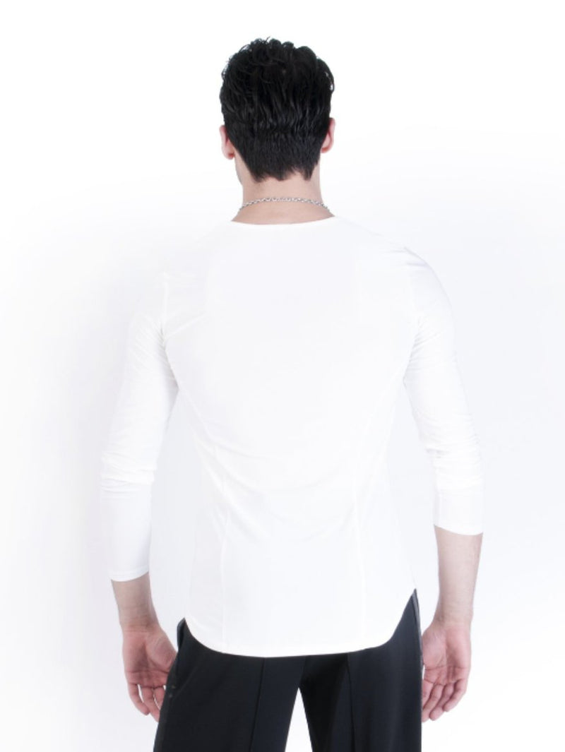 Classic ballroom silhouette for men with v-neck and a rounded hem.
