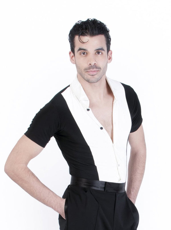Miari mens ivory and black spandex Theodore ballroom dance shirt, ivory spandex body with contrasting black velvet trims. Short sleeves provide maximum range of motion. Button front closure.
