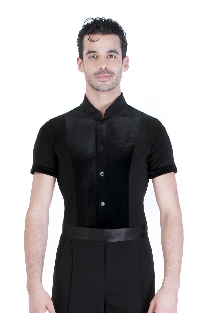 Miari mens black spandex and black velvet Theodore ballroom dance shirt, spandex body with contrasting velvet trims. Short sleeves provide maximum range of motion. Button front closure