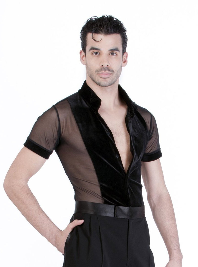 Miari mens black mesh and black spandex Theodore ballroom dance shirt, black mesh body with contrasting black velvet trims. Short sleeves provide maximum range of motion. Button front closure.