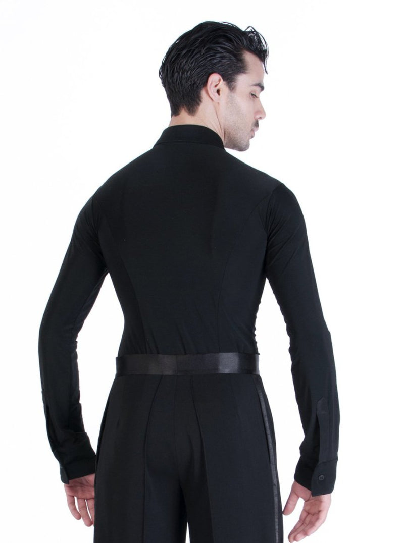 Miari men's black Oxford ballroom dance shirt. Attached trunk shorts keeps this shirt tucked in for a polished look