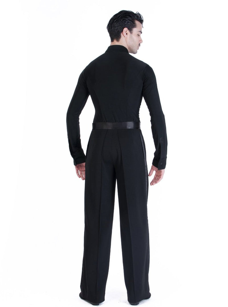 Miari mens dance trousers with satin waistband, pin tuck pleats, and pockets. Wide leg, satin trim down side seam. Durable crepe material no wrinkle machine washable.