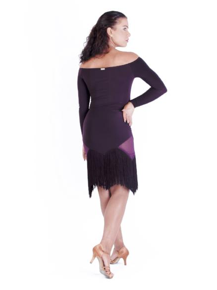 Miari women's plum latin rhythm fringe ballroom dance skirt with diagonal diamond-shaped hem and mesh side panels. Thick luxurious fringe.