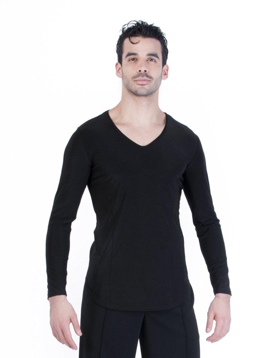 Classic silhouette for men with v-neck and a rounded hem.