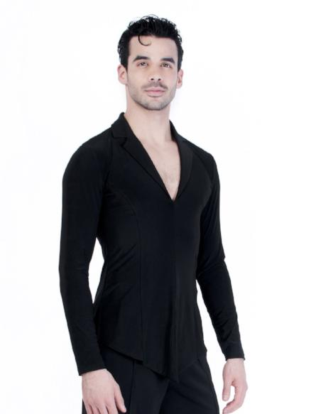 Miari mens ballroom dance blazer jacket with black spandex, wide set collar neckline and short slits at the center front hem and side seams.