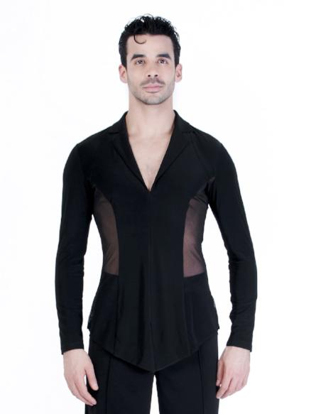 Miari men's ballroom dance blazer jacket with black mesh, wide set collar neckline and short slits at the center front hem and side seams.