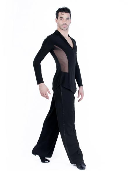Miari mens ballroom dance blazer jacket with black mesh, wide set collar neckline and short slits at the center front hem and side seams.