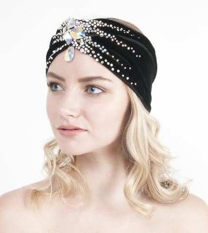 Rhinestoned Turban Headband- Crystal AB
