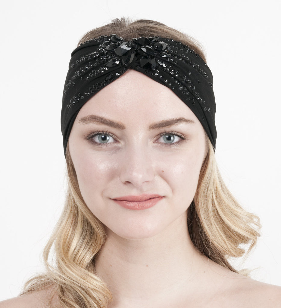 Rhinestoned Turban Headband- Jet Black