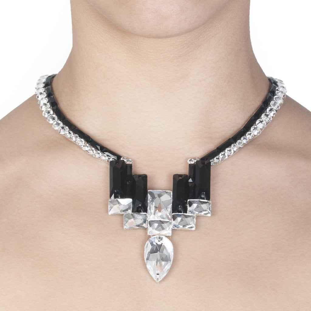 Nouveau Necklace- Black and Crystal