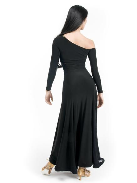Maxi ballroom dance dress for both Standard, Smooth, built-in shelf bra, off the shoulder