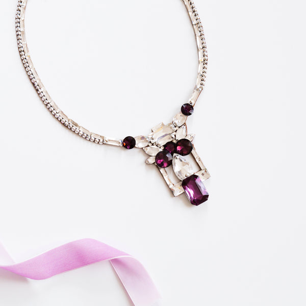 Madeira Necklace - Crystal & Plum
