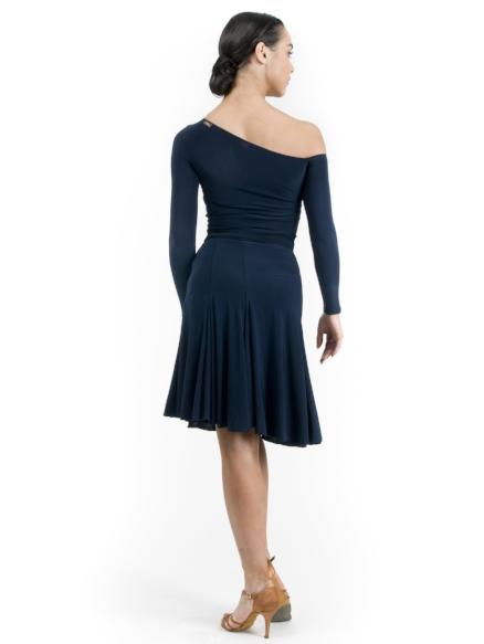 This latin ballroom dance navy skirt is a true wrap flare skirt to pair with any Miari ballroom dancing top
