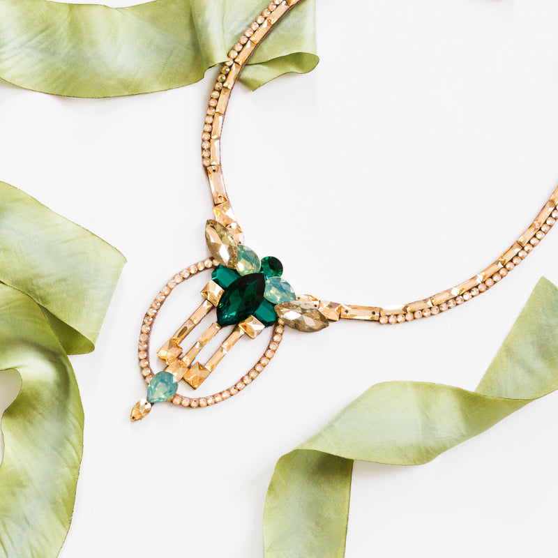 Milan Necklace - Golden Shadow & Emerald