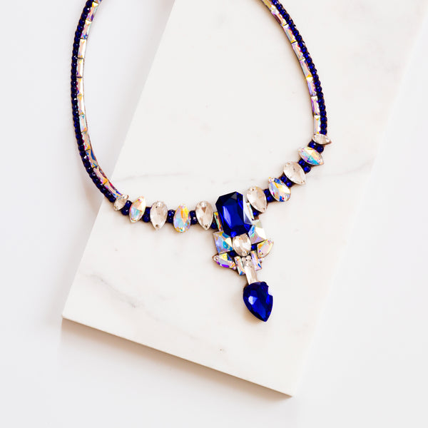Odessa Necklace - Crystal AB & Sapphire