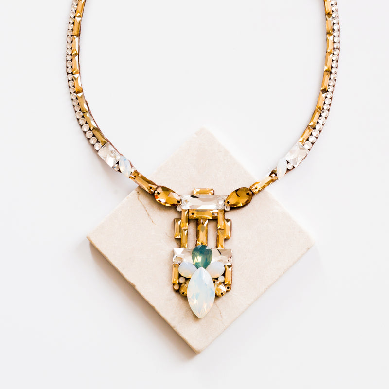 Verona Necklace - Crystal, Golden Shadow & Opal