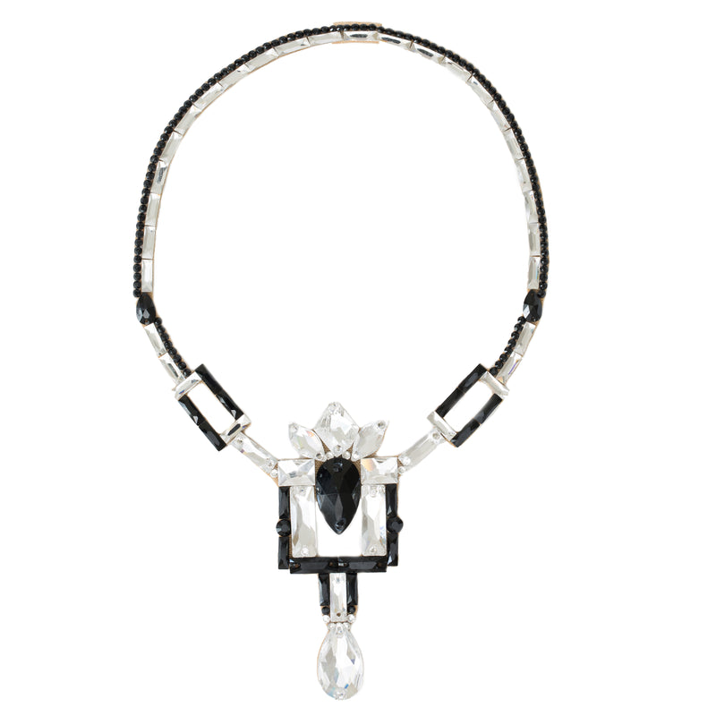 Vienna Necklace- Jet & Crystal