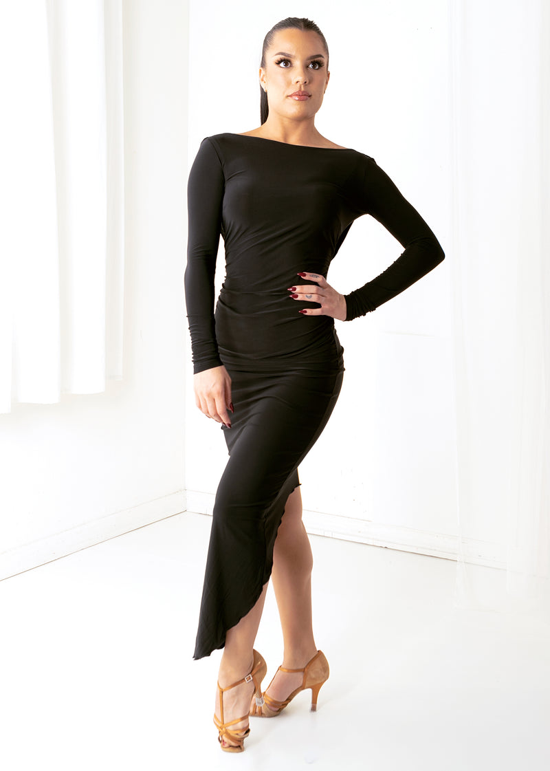 Long-sleeved, black, draped back ballroom dance dress with front waist gathered at the dancer's middle.
