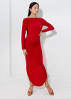 Alessandra Draped Dress- Red